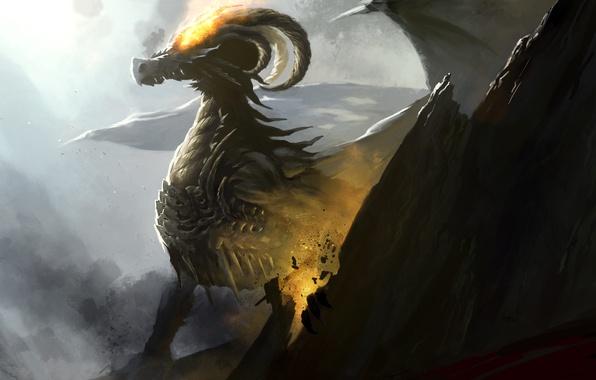 Picture rock, fiction, fire, dragon, wings, art, lava, horns