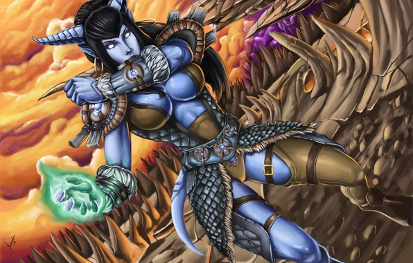 Picture girl, magic, armor, World of Warcraft, Wow, peaks, Draenei