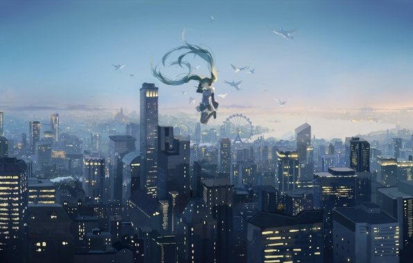 Picture the sky, girl, sunset, birds, the city, height, home, anime, art, Ferris wheel, vocaloid, hatsune …