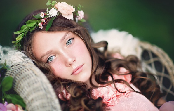 Picture look, face, mood, portrait, girl, wreath