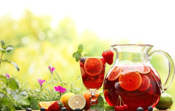 Picture summer, flowers, nature, cherry, glass, berries, orange, blueberries, strawberry, lime, drink, pitcher, fruit, lemons, decanter, …