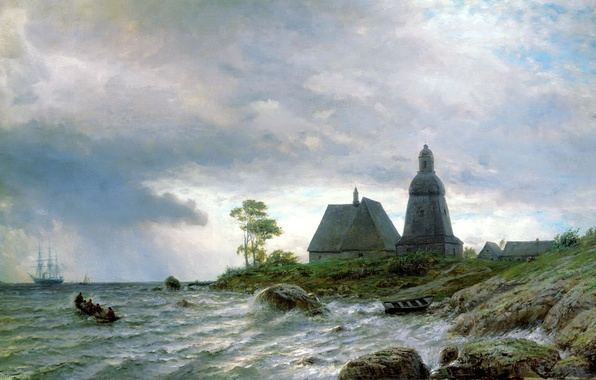 Picture water, nature, house, stones, people, shore, sailboat, picture, boats, painting, Lev Lagorio, sea waves, Northern …