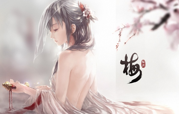 Picture water, girl, petals, Sakura, art, characters, dagger