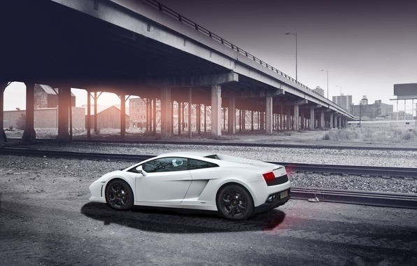 Picture road, white, the sky, bridge, shadow, white, gallardo, lamborghini, side view, bridge, Lamborghini, Gallardo, lp560-4