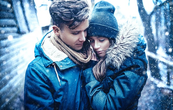 Picture girl, snow, love, pair, guy