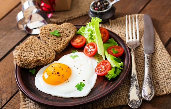Picture egg, Breakfast, bread, knife, scrambled eggs, tomatoes, salad, bread, serving, egg, Tomatoes