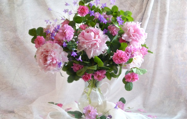 Picture pink, tenderness, roses, bouquet, texture, bells, peonies