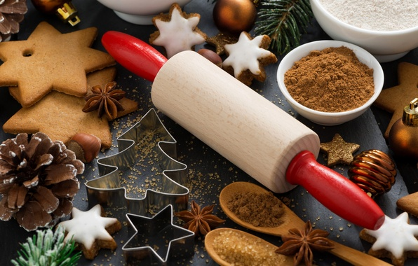 Picture holiday, tree, cookies, sugar, cinnamon, bumps, cakes, spices, rolling pin, star anise, the mold