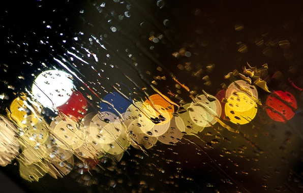 Picture glass, water, drops, lights, rain, the shower, threads, glass sprayed with water an evening sky, …