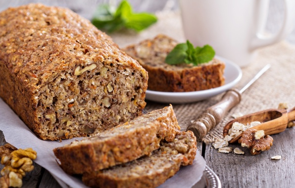 Picture carrots, carrot, bread with oats and nuts, Vegetarian banana, bread with oats and nuts, Vegetarian …