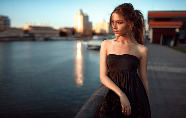 Picture River, Model, Promenade, Black, Hair, Dress, Moscow