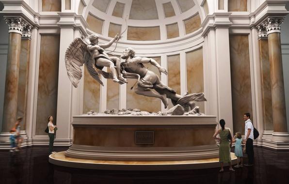 Picture people, the building, Museum, statue, sculpture, columns