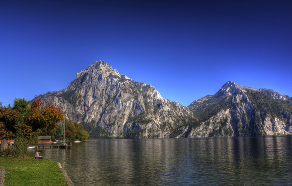 Picture the sky, landscape, mountains, nature, lake, photo, Austria, Traunkirchen