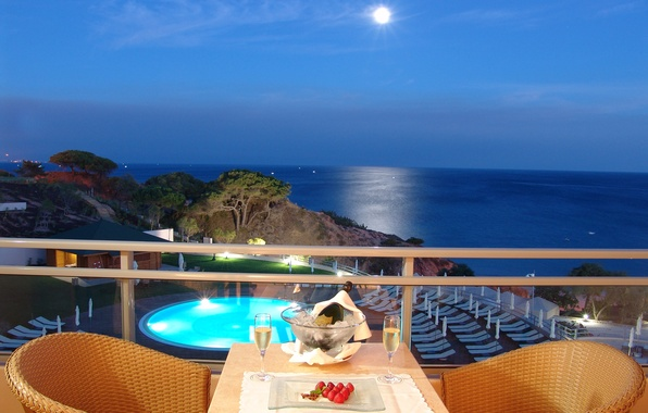 Picture sea, stay, view, the evening, horizon, relax, balcony, the hotel, terrace