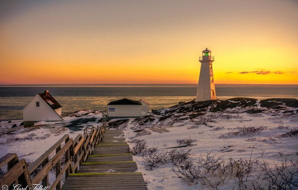 Picture winter, the ocean, dawn, shore, lighthouse