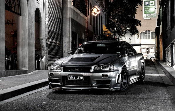 Picture Night, Street, Grey, Nissan, Desktop, Japan, Nissan, Car, Car, Beautiful, Night, Street, Skyline, Grey, Wallpapers, …