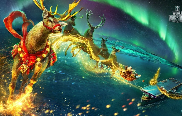 Picture sea, flight, ship, new year, Northern lights, fantasy, gifts, the carrier, deck, sleigh, Santa Claus, …