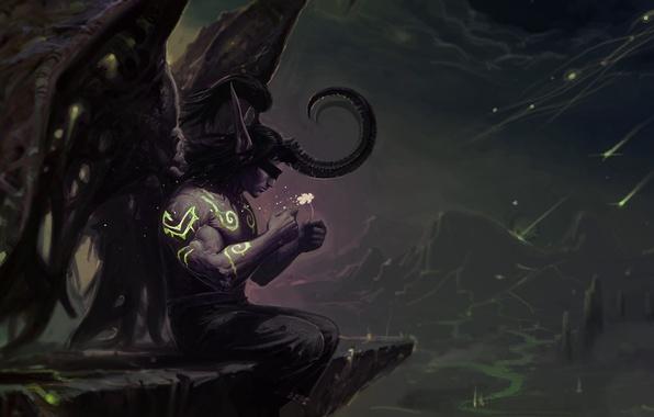 Picture flower, night, WoW, World of Warcraft, Illidan Stormrage, The Illidan Stormrage