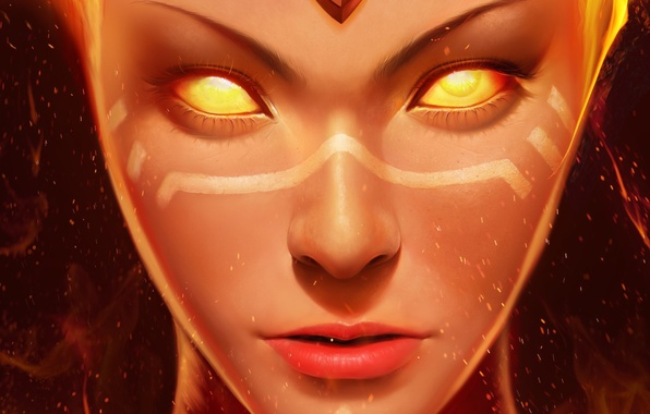 Picture fire, the game, art, Dota 2, Lina