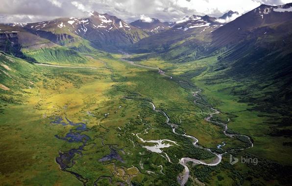 Picture snow, mountains, river, valley, Alaska, USA