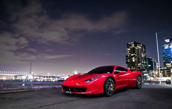 Picture the sky, stars, clouds, red, red, ferrari, Ferrari, front view, 458 italia
