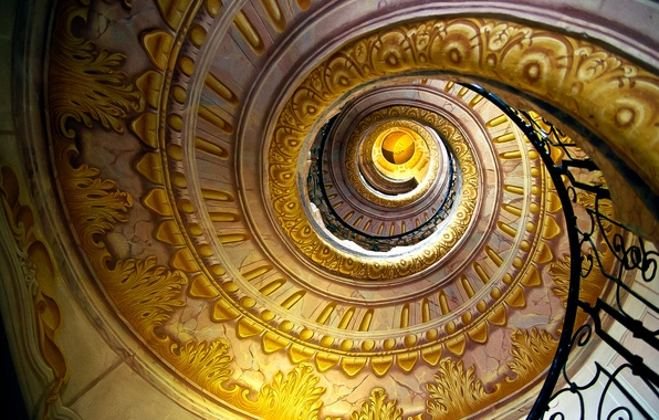 Picture patterns, spiral, Ladder, railings, gold