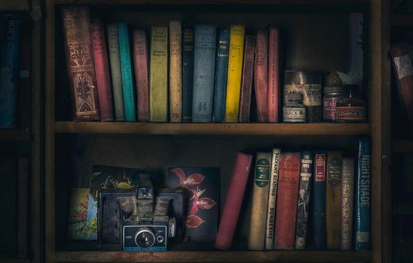 Picture books, camera, shelves