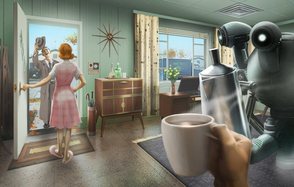 Picture house, robot, postapokalipsis, rpg, Bethesda Softworks, Fallout 4, vault - tec