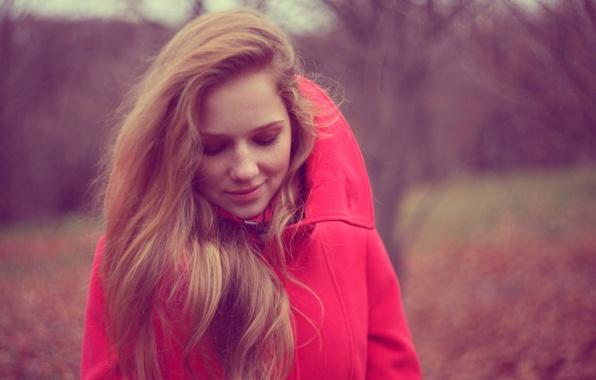 Picture autumn, girl, smile, jacket