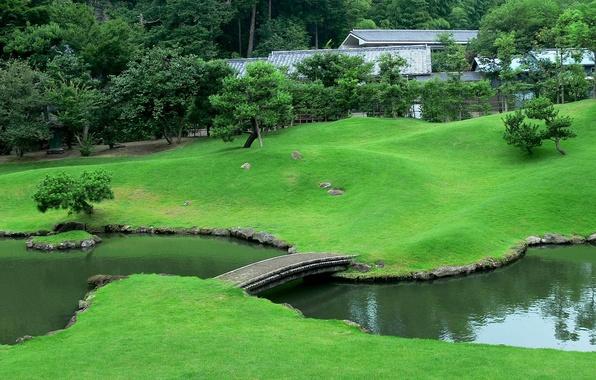 Picture bridge, stream, Japan, garden, lawn