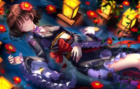 Picture water, girl, flowers, anime, art, lights, kimono, bow, swordsouls, koutetsujou no kabaneri, mumei