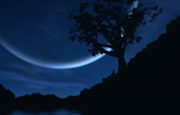 Picture lake, the moon, people, Tree