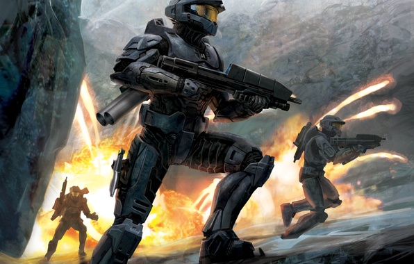 Picture fire, soldiers, armor, halo 3, storm