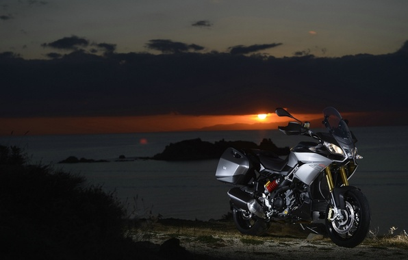 Picture sunset, nature, engine, motorcycle, beautiful, Italian, background., electronic, soft, two-cylinder, V-neck, Aprilia, Aprilia Caponord 1200, ...
