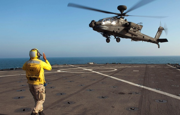 Photo wallpaper sea, landing, the sky, the carrier, helicopter