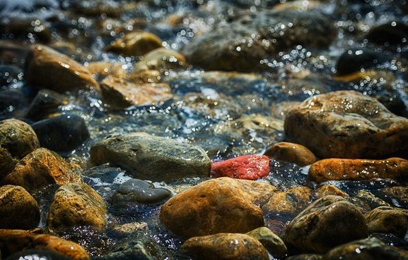 Picture sea, water, stones, paint, shore, Shine, pebbles