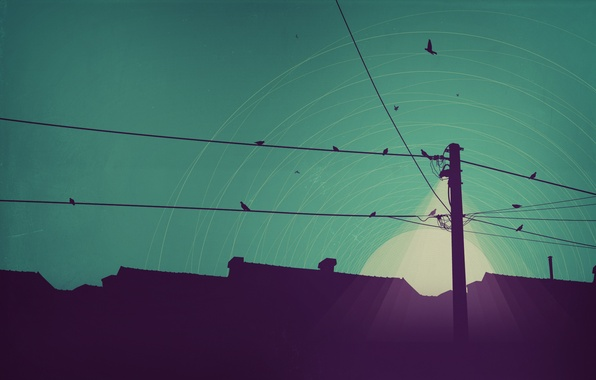 Picture light, night, the moon, home, minimalism, vector, line, art, lantern, power