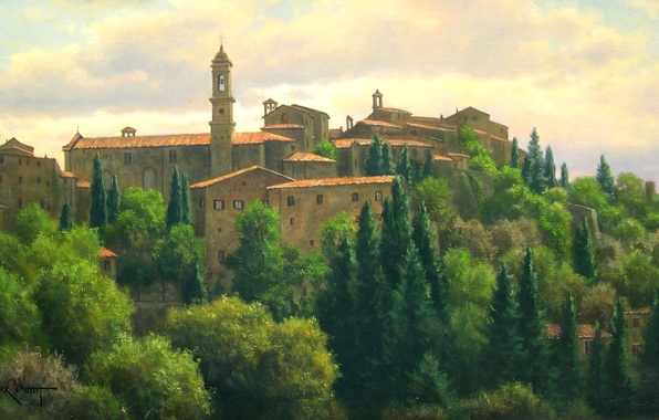Picture summer, light, trees, landscape, home, picture, roof, Italy, town, buildings, Mark Pettit, the bell tower