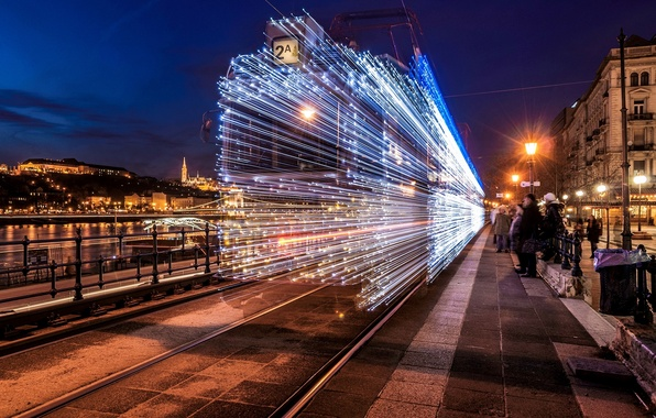 Picture road, night, the city, lights, people, building, rails, home, lighting, lights, tram, garland, stop, Hungary, …