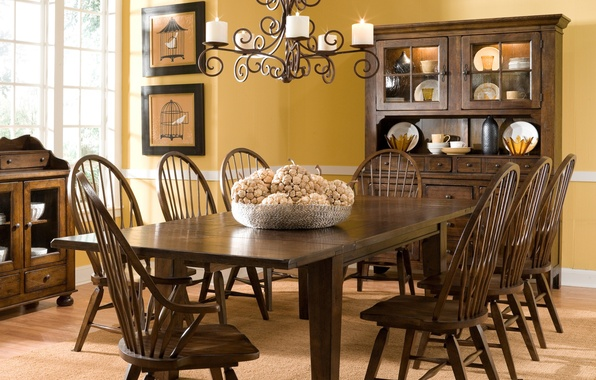 Wallpaper rustic design style interior oak dining for Dining room 640x1136
