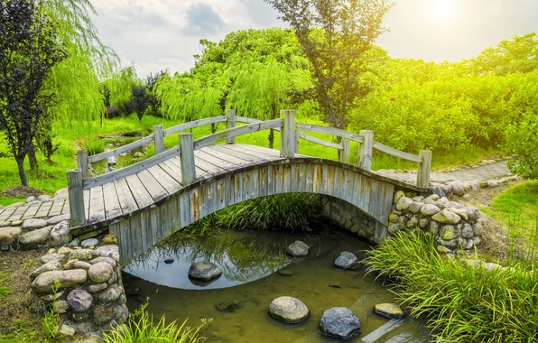 Picture greens, water, trees, bridge, pond, Park, stones, track, the bushes
