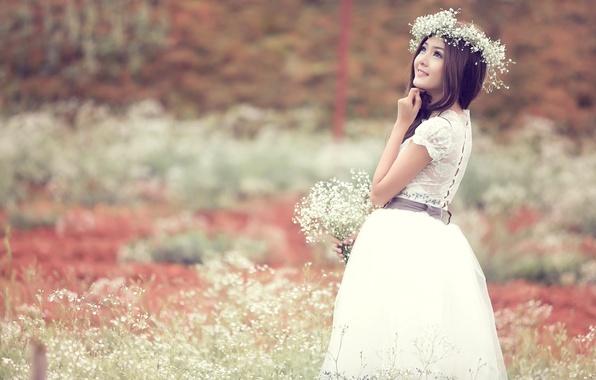 Picture field, dreams, flowers, mood, Girl, dress, Asian