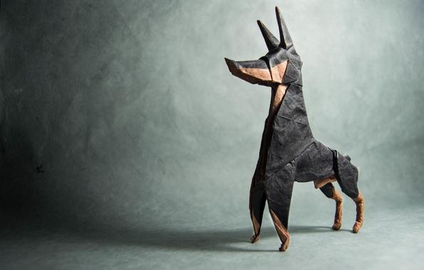 Picture grey, shadow, dog, origami, dog, Doberman, origami, shadow, gray, doberman