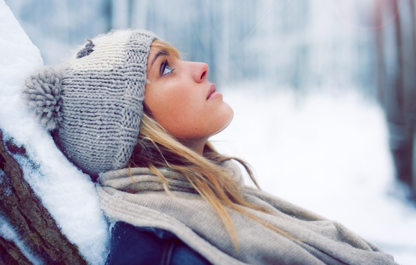 Picture winter, girl, snow, hat, blonde