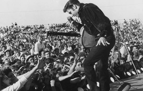 Picture music, Wallpaper, scene, guitar, dance, microphone, actor, singer, the audience, fans, elvis presley, 1957, rock-n-roll, …