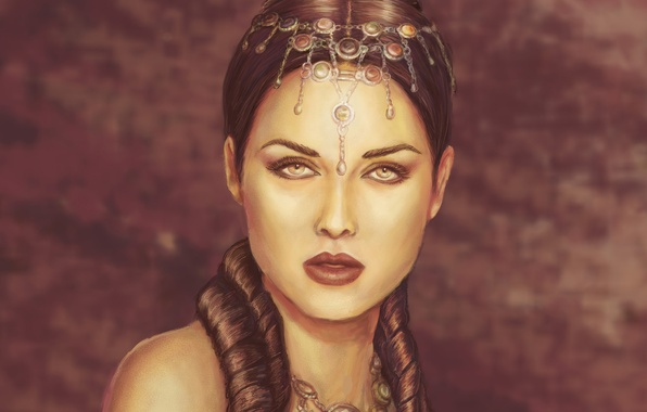Picture look, girl, decoration, face, makeup, hairstyle, lips, priestess, shoulders, Queen
