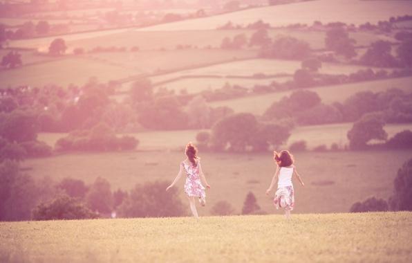 Picture field, summer, grass, freedom, the sun, trees, joy, landscape, heat, girls, mood, hills, girls, walk, …