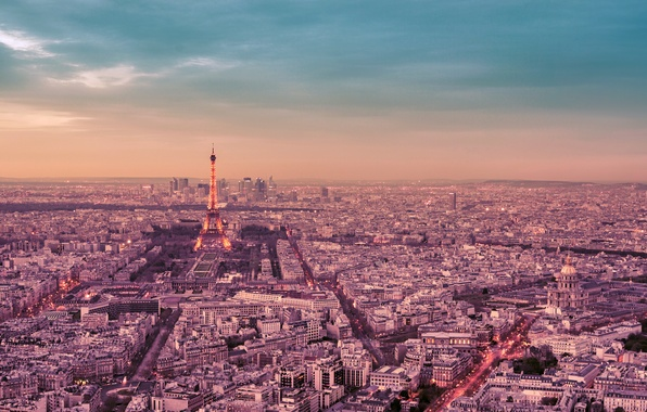 Picture the sky, clouds, trees, the city, France, Paris, building, road, home, panorama, Eiffel tower, Paris, …