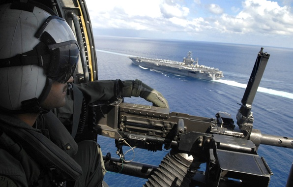 Picture sea, the sky, ship, machine gun, military