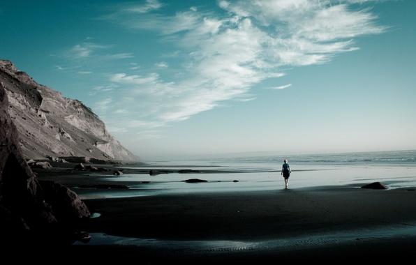 Picture sand, beach, the sky, girl, clouds, loneliness, mood, the ocean, rocks, Shore